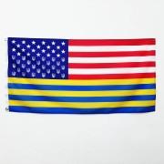 Флаг США стилизованный с трезубцами Украины