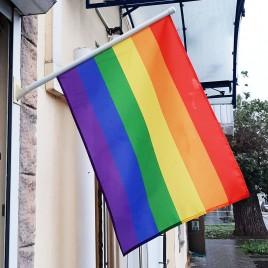 Флаг ЛГБТ 70х45см на стену с флагштоком