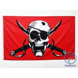 Піратський прапор Весилий Роджер на червоному фоны 150х90см