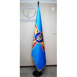Флаг Воздушных сил Украины 180х120 см сатен с бахромой в кабинет