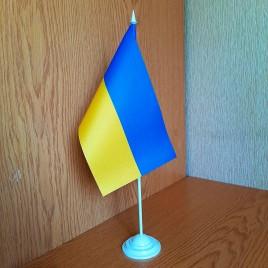 Флаг Украины 23х13,5 см настольный на подставке